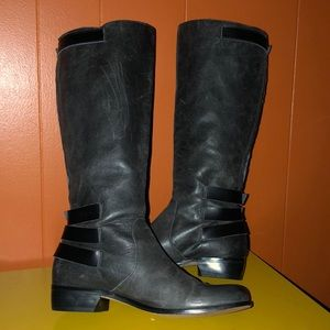 Renvy Shoes - Renvy Gray Distressed Leather Knee High Boots